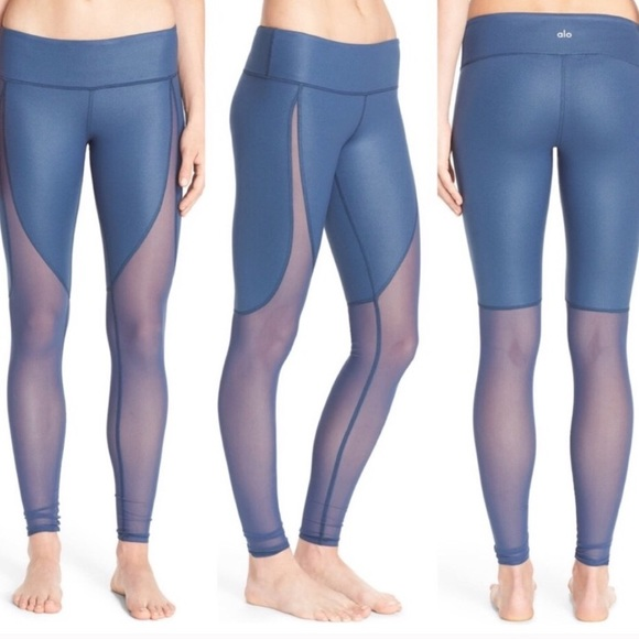 ALO Yoga Pants - Blue Alo Yoga Motion Leggings with Mesh